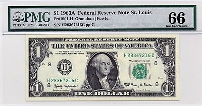 $1 1963A Federal Reserve Note St. Louis S/N H28367216C PMG 66 Gem Unc