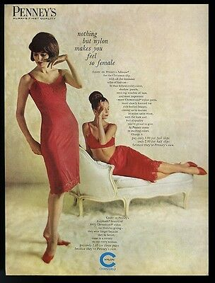 1963 Penney's sexy red lingerie slip bra demi 2 women photo vintage print ad