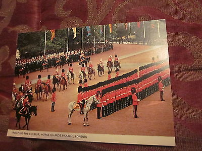 Postcard trooping the Colour Horse Quard's Parade London