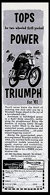 1961 Triumph racing motorcycle illustrated vintage print ad