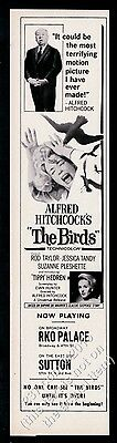 1963 The Birds movie release Alfred Hitchcock Tippi Hedren photo print ad
