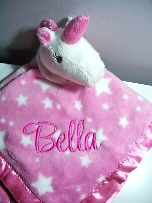 Personalised Baby Cuddle Blanket Security Blankie Gift  UNICORN PINK  Any Name