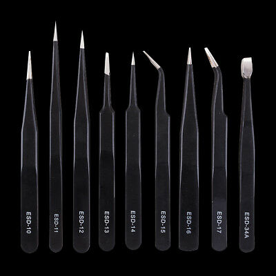 9pcs/set Anti-static Tweezer Maintenance ESD Stainless Steel Tool & Canvas Bag