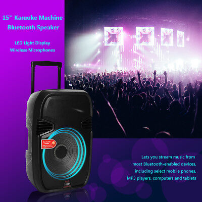 15'' Bluetooth DJ Speaker PA System Rechargeable Power Amplifier USB AUX input