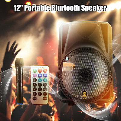 12'' DJ Speaker PA System Rechargeable Amplifier Bluetooth Karaoke USB SD Radio