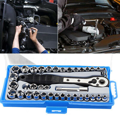 38Pcs Socket Set 3/8'' Inch Metric Ratchet Driver Socket Wrenches Tool With Box