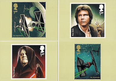 Four (4)  **  Royal Mail Phq Postcards  *  Star Wars  * Incl.han Solo  *  Mint