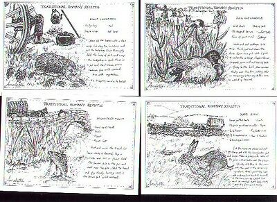 8 Romany Gypsy Traveller postcards traditional recipes hochi hare pheasant trout