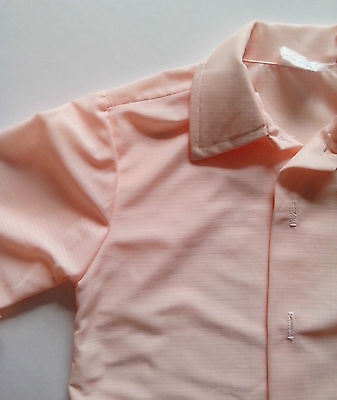 1970s Boy's Shirt Light apricot   Age 1 -2   Chest size 20inch Vintage Retro