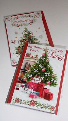 "FAMILY CHRISTMAS CARDS x12, just 27p! FOILED, 5"" X 7"" (B516"