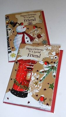 "FRIEND CHRISTMAS CARDS x12, just 27p! FOILED, 5"" X 7"" (B698"