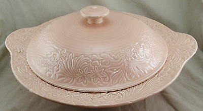 Clarice Cliff Pink Flower Lidded Serving Bowl with Backstamp