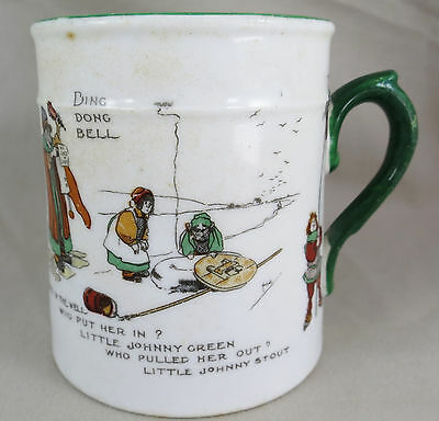 Antique Ding Dong Bell Pussy's in the Well Nursery rhyme Child's mug
