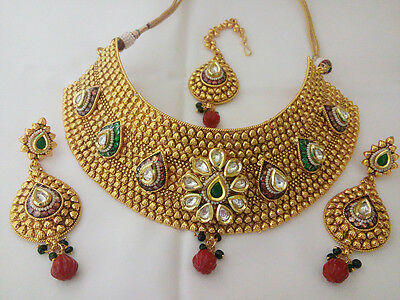 Indian Jewelry Choker Necklace Bollywood Ethnic Gold plated traditional Set