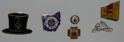 Lot of 6  Masonic Assorted Lapel Pins Badge Mason Freemason Masonic