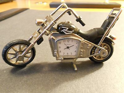 Motorcycle Desk Table Clock by FOSSIL Black Silver Limited Edition Chopper