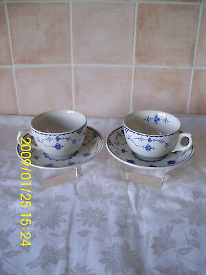 2 Large Furnivals Denmark Breakfast Cups & Saucers Quantity 2