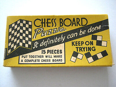 VINTAGE CHESS BOARD 15 PIECE PUZZLE 1930s COMPLETE BOX AND HAND WRITTEN SOLUTION