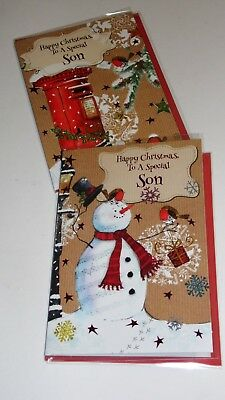 "SON CHRISTMAS CARDS x12, just 27p! FOILED, 5"" X 7"" (G6"