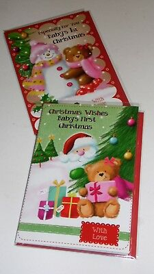 """BABY'S FIRST CHRISTMAS CARDS x12, just 27p! FOILED, 5"""" X 7"""" (B642"""