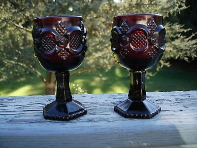 Set of 2 Avon 1876 Cape Cod Ruby Red Goblets / Votive Candle Holders 3 oz.