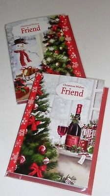 "FRIEND CHRISTMAS CARDS x12, just 27p! FOILED, WRAPPED 5"" X 7"" (B402"