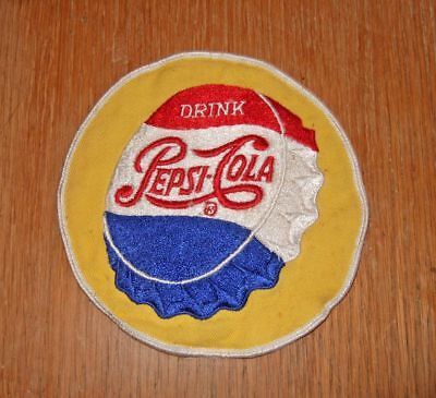 "Vintage Pepsi-Cola cloth patch~5-1/2""~embroidered bottle cap"