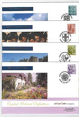 Gb 2001 Mercury Set Of 4 First Day Covers Fdc Regional Issue 23 April 2001