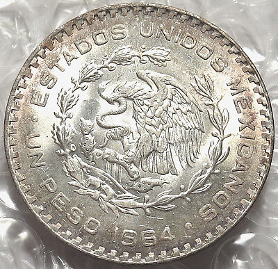 1964 Mexico One Peso Coin. Crown Size Silver Mint State. Strong Details. #528