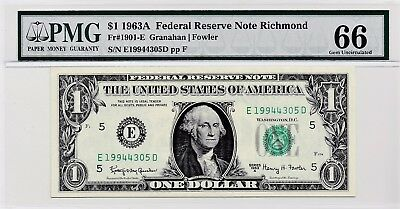 $1 1963A Federal Reserve Note Richmond S/N E19944305D PMG 66 Gem Unc