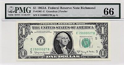 $1 1963A Federal Reserve Note Richmond S/N E15000027B PMG 66 Gem Unc