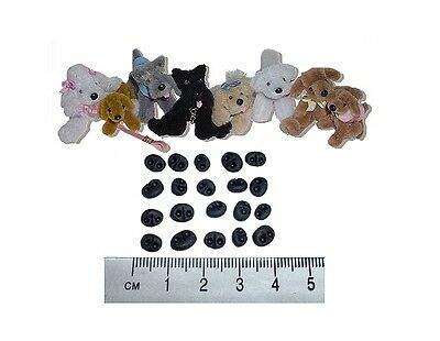 Miniature Polymer Clay Bear and Dog Noses pack of 20 (assorted sizes ) ID01NB