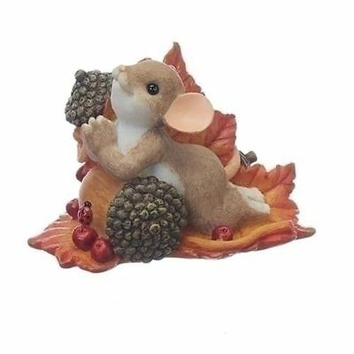 "Charming Tails Figure Praying Mouse on Acorn ""Thankful for all you give"""