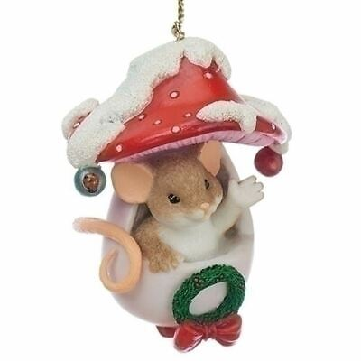 """Charming Tails Ornament 3"""" Mice in Mushroom  Holiday Hello"""