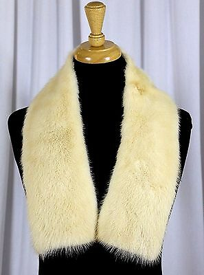 "NATURAL OFF WHITE GENUINE MINK FUR PADDED UNLINED SWEATER JACKET COLLAR 4.5""x37"""