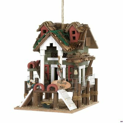 Fishing Pier Birdhouse w/ Rope Wrapped Posts, Life Saver, Thatched Roof