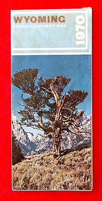 1970 Wyoming Official Highway Map rdbc