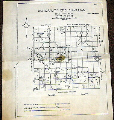 Rural Municipality of Clanwilliam Map Manitoba Department of Public Works 1965 c