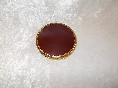 Vintage Red Enamel Goldtone Compact by Foster