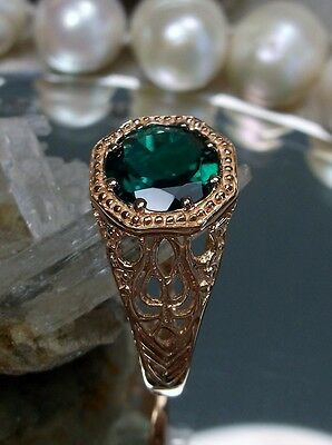 Natural Green Emerald 10k Rose Gold Victorian Filigree Ring Size {Made To Order}