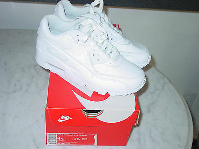2016 Nike Air Max 90 White Leather Running Youth Shoes! Size 4Y $120.00 w/Box!