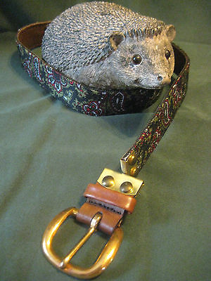 unusual reversible BELT vtg mens 32 swivel buckle Paisley blk green Leather brwn