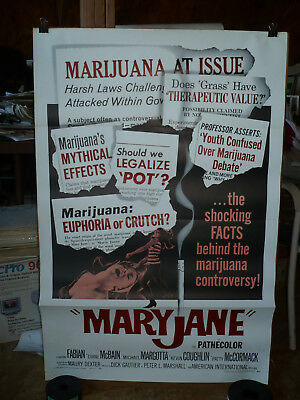 MARY JANE, orig 1-sh / movie poster [Fabian; Diane McBain] - marijuana cult film