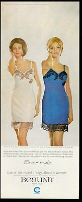 1963 Beaunit Seamprufe lingerie 2 women blue and white slip color photo print ad