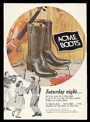 1966 Acme cowboy boots and square dancing coupe fiddler photo vintage print ad