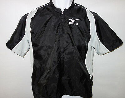 Mizuno Wind Shirt Boys Youth Large Baseball Short Sleeve 1/4 Zip Pull Over Black