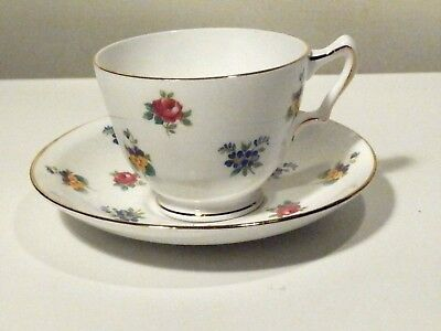 Crown Staffordshire England Floral Bouquet Smooth Cup And Saucer Excellent