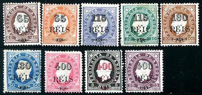 HERRICKSTAMP ANGOLA Sc.# 61-69 1902 Surcharges Hinged