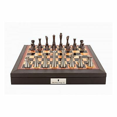 Dal Rossi Brown PU Leather Bevelled Edge Contemporary Chess Set