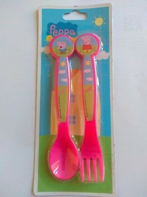 Peppa Pig and George Strong & Durable Plastic Cutlery Set Fork and Spoon 12mth+